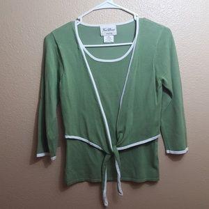Fred David green 3/4 sleeve sweater petite S